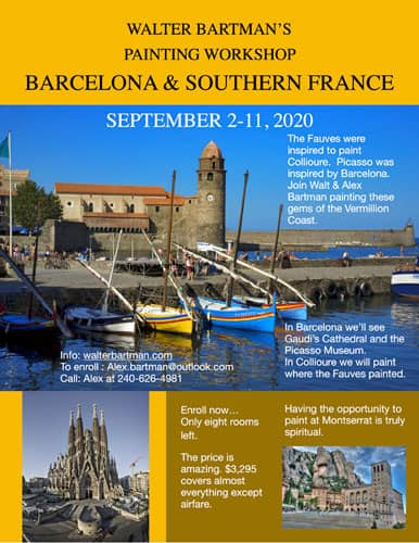 Walter Bartman's Painting Workshop Barcelona & Southern France 2020
